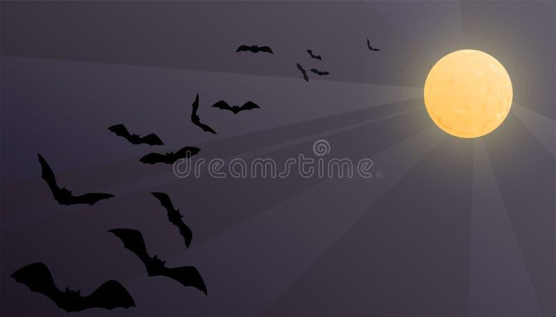 万圣夜与发光的月亮和飞行棒的传染媒介背景 与拷贝空间的夜空例证 皇族释放例证