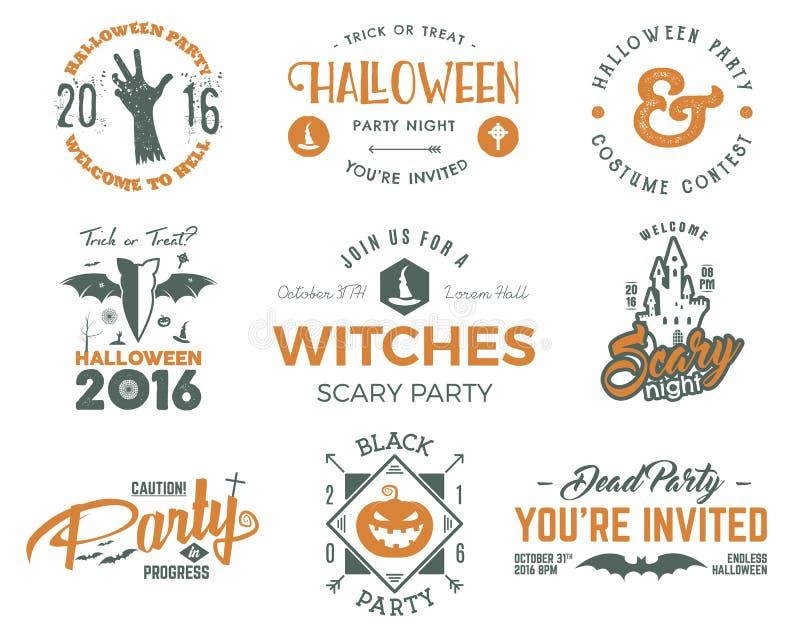 万圣夜与可怕标志-蛇神手、巫婆帽子、棒、南瓜和印刷术元素的2016块党标签模板 库存例证