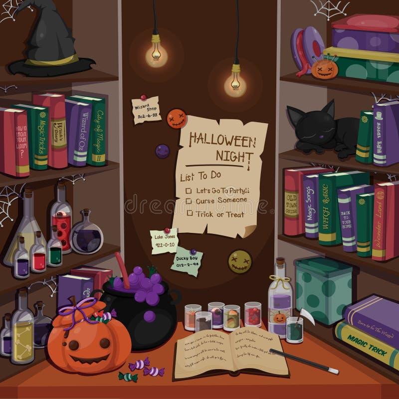 万圣夜与巫婆` s室的概念卡片 万圣夜元素 也corel凹道例证向量 库存例证