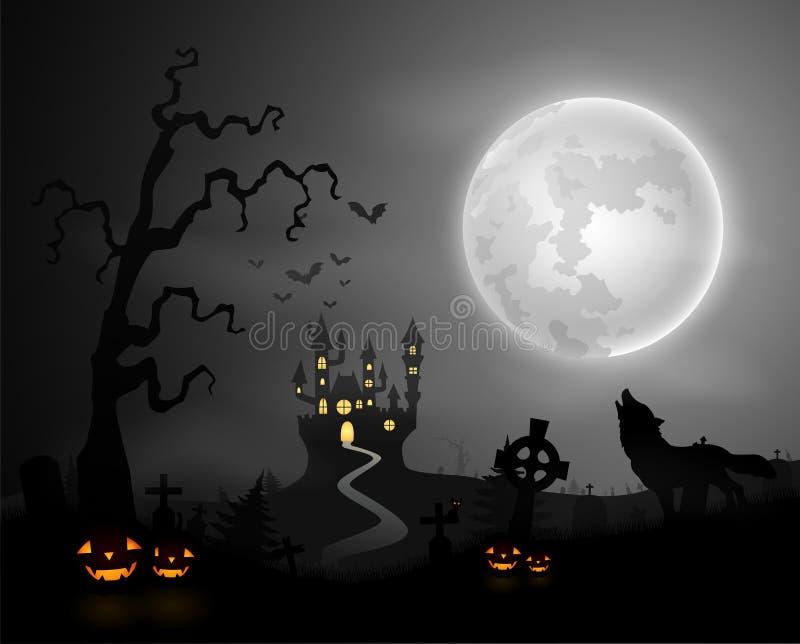 万圣夜与狼嗥叫,南瓜、城堡和满月的夜背景 向量例证
