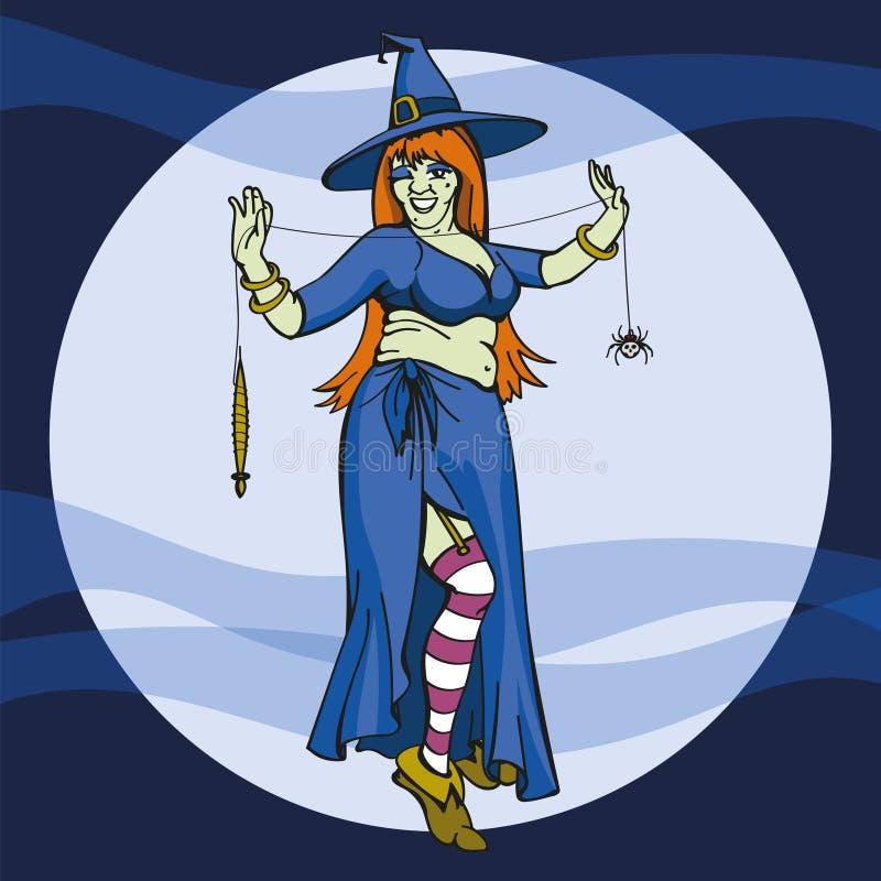 万圣夜与蜘蛛网传染媒介的巫婆跳舞 向量例证