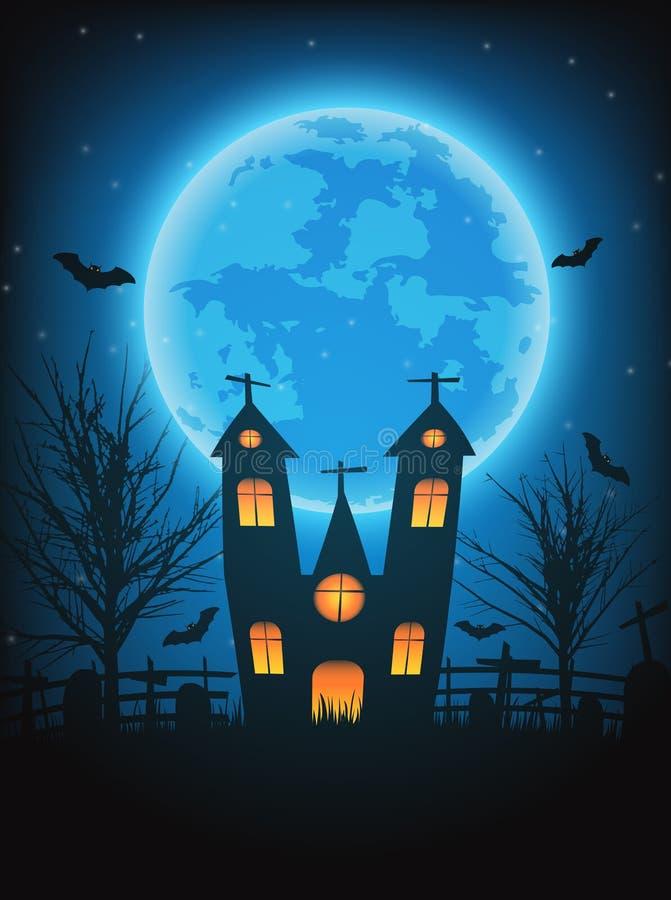 万圣夜与赤裸树的夜背景,棒被困扰的房子a 库存例证