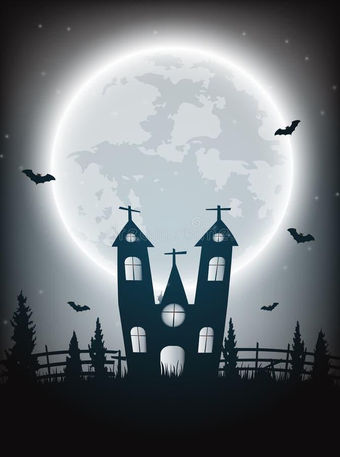 万圣夜与赤裸树的夜背景,棒被困扰的房子a 皇族释放例证