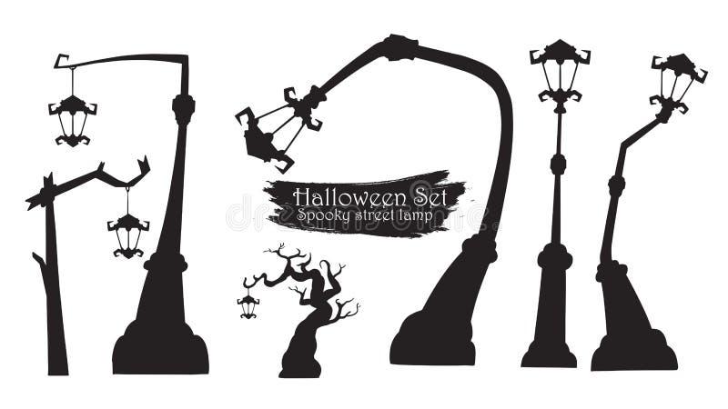 万圣夜传染媒介iso的鬼的街灯剪影收藏 向量例证