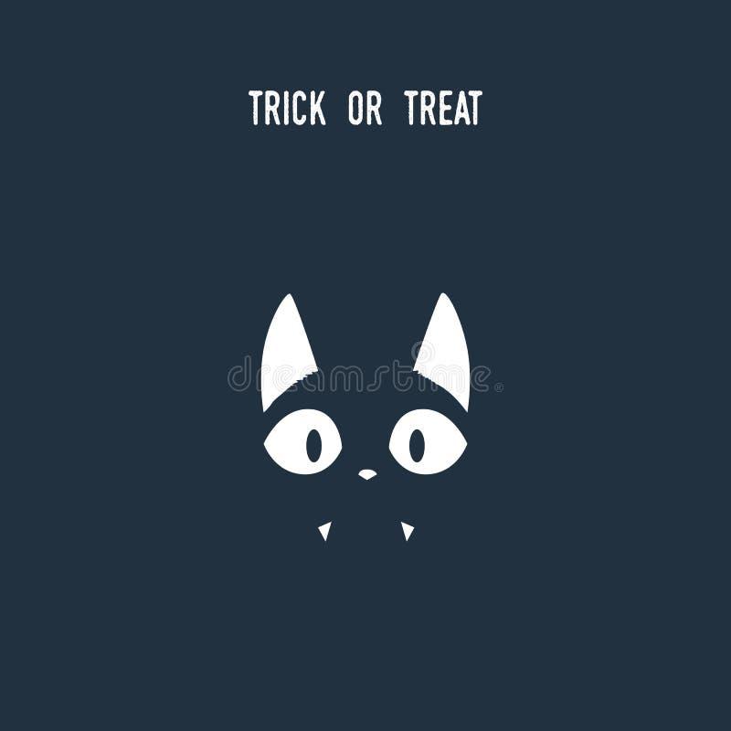 万圣夜使用消极空间剪影的猫标志 与可爱的逗人喜爱的小猫的动物假日动画片 库存例证