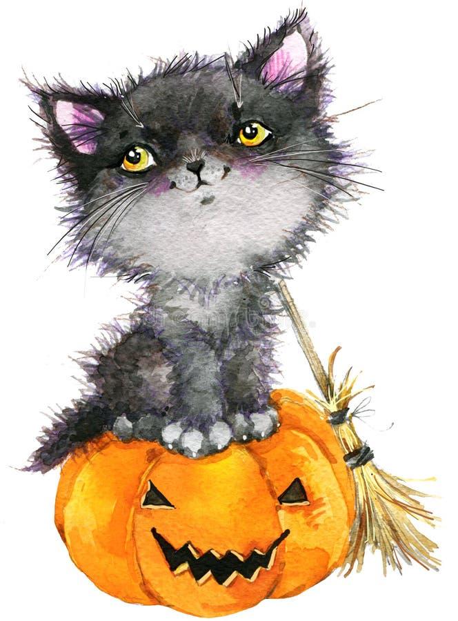 万圣夜假日小的猫巫婆和南瓜 额嘴装饰飞行例证图象其纸部分燕子水彩 库存例证