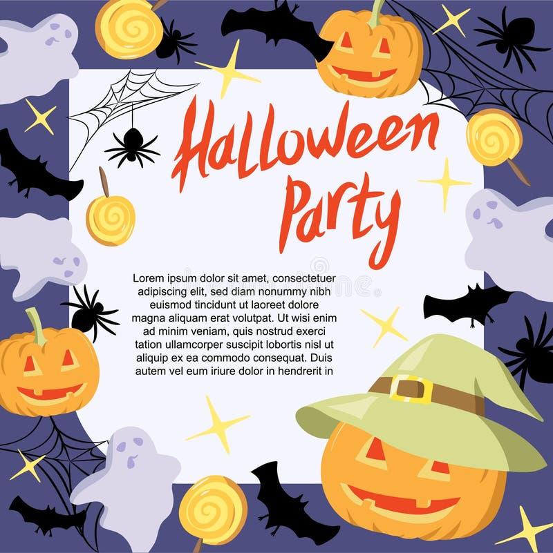 万圣夜党横幅、海报、模板用南瓜,棒、鬼魂、蜘蛛和糖果 皇族释放例证
