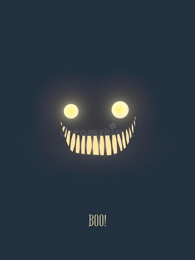 万圣夜党邀请与发光在黑暗的夜的可怕,但是友好的妖怪面孔的卡片模板 皇族释放例证