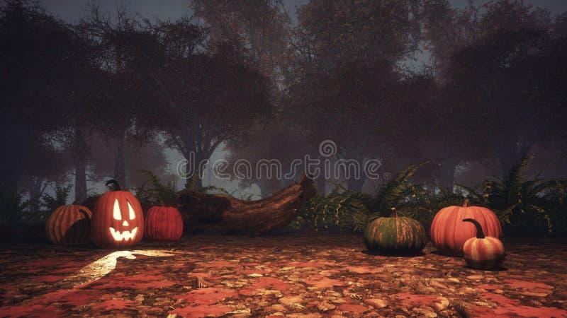 万圣夜南瓜在黄昏的鬼的秋天森林里 库存例证
