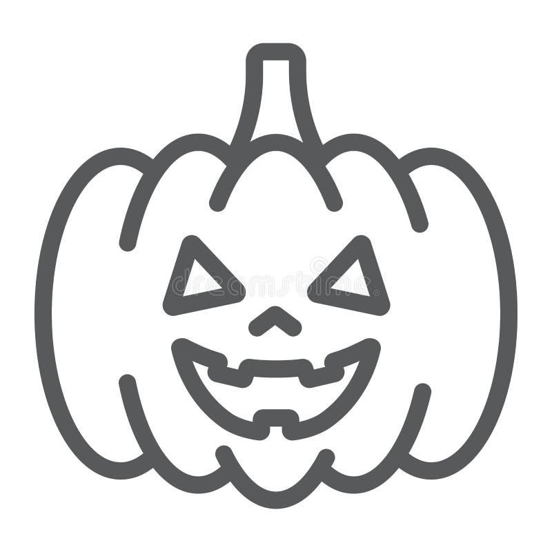 万圣夜南瓜线象,秋天和装饰,食物标志,向量图形,在白色背景的一个线性样式 库存例证