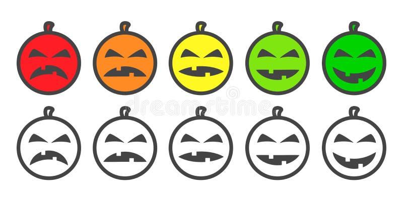 万圣夜南瓜颜色Emoji象 皇族释放例证