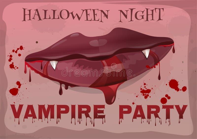 万圣夜吸血鬼党 在血液的女性嘴唇 皇族释放例证