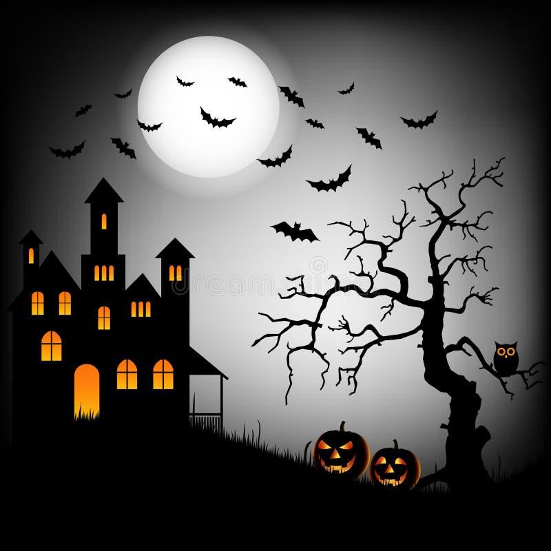 万圣夜困扰了与棒和树背景模板的城堡 库存例证