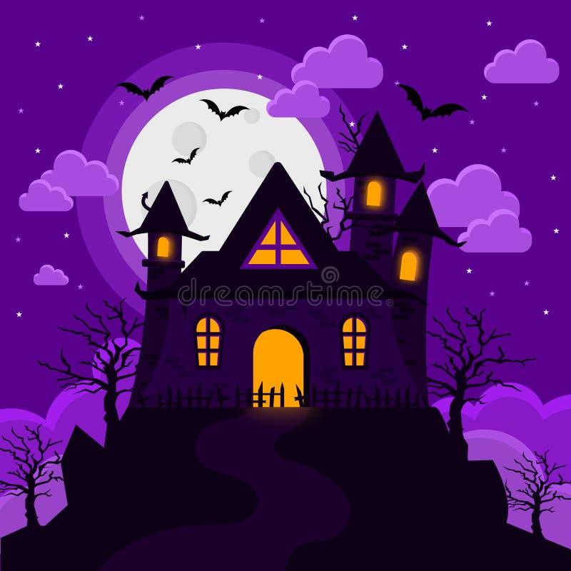 万圣夜图象城堡奇怪的塔 库存图片