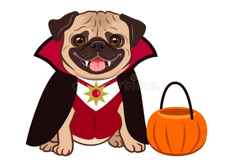 万圣夜在吸血鬼服装动画片例证的哈巴狗狗 逗人喜爱 向量例证