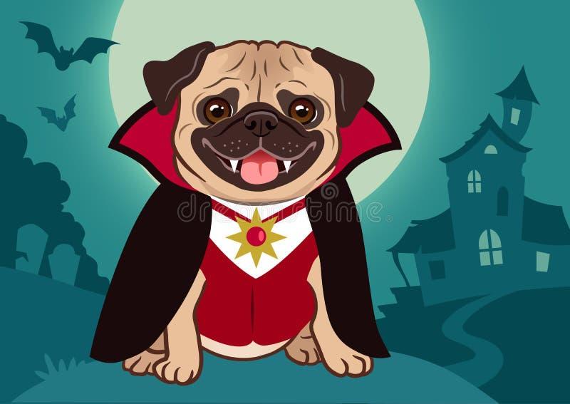 万圣夜在吸血鬼服装动画片例证的哈巴狗狗 逗人喜爱 皇族释放例证