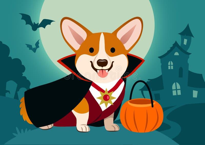 万圣夜在吸血鬼服装的小狗狗反对鬼的背景 库存例证