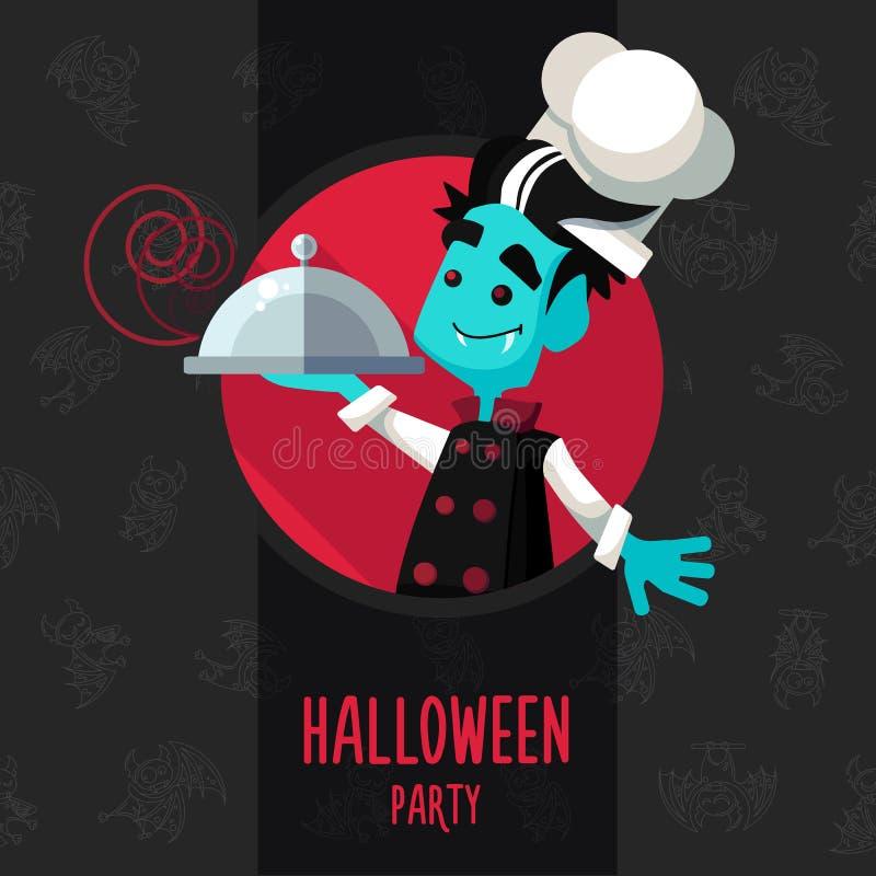 万圣夜在样式的传染媒介例证平关于吸血鬼厨师 库存例证