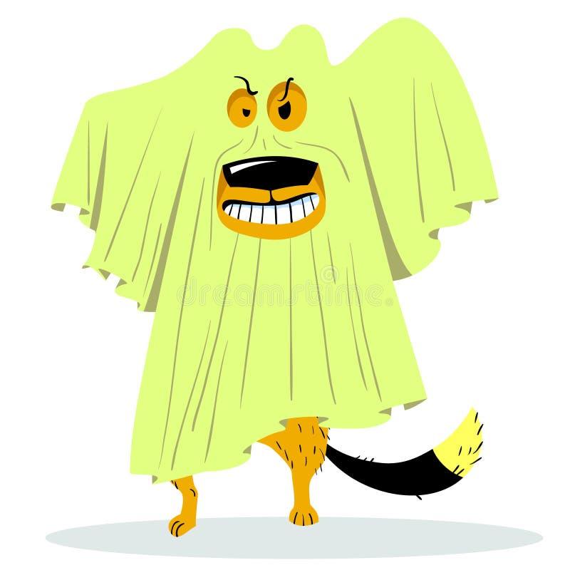 万圣夜在鬼魂服装的狗字符 动画片传染媒介illustr 皇族释放例证