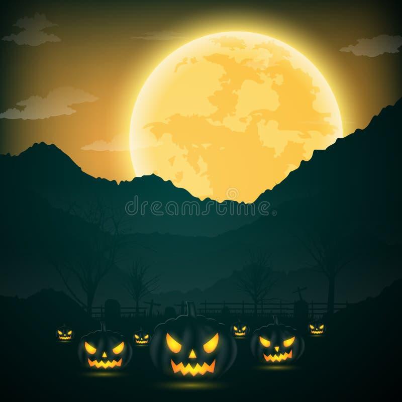 万圣夜夜背景用南瓜、赤裸树、棒和fu 向量例证