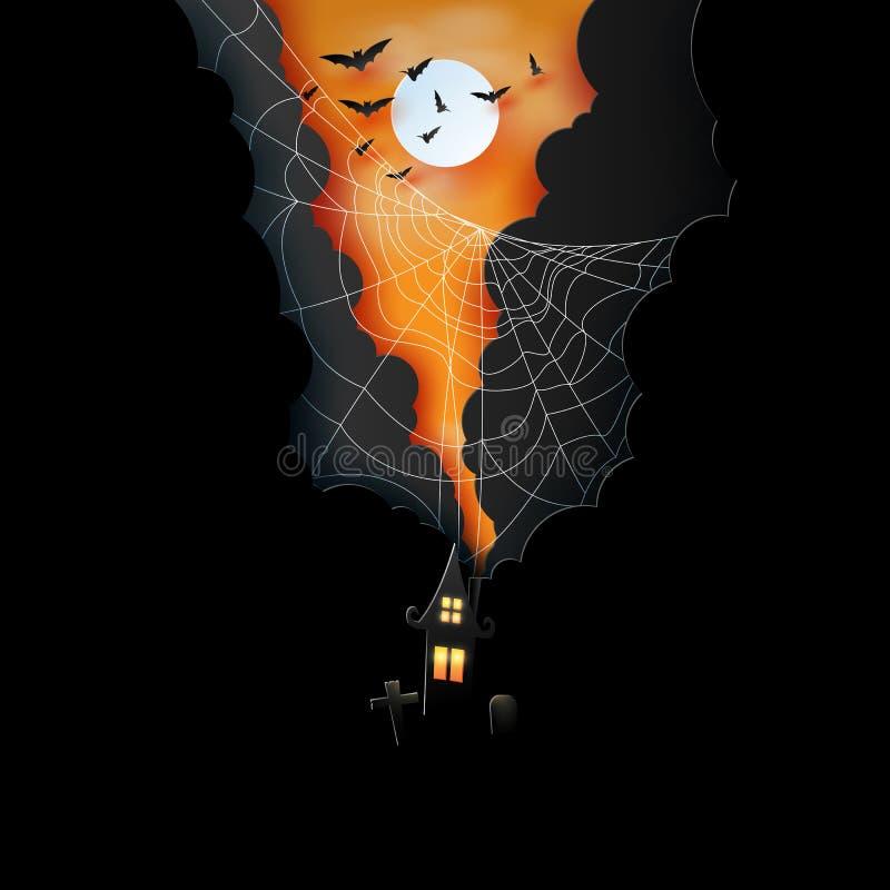 万圣夜夜背景纸艺术  黑暗的城堡和满月与蜘蛛网和云彩 向量例证