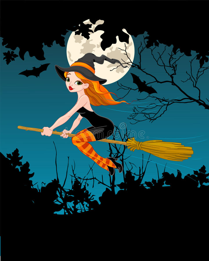 万圣夜巫婆横幅 向量例证