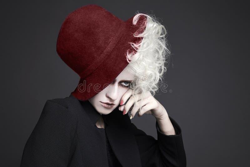 万圣夜帽子的构成妇女 库存图片