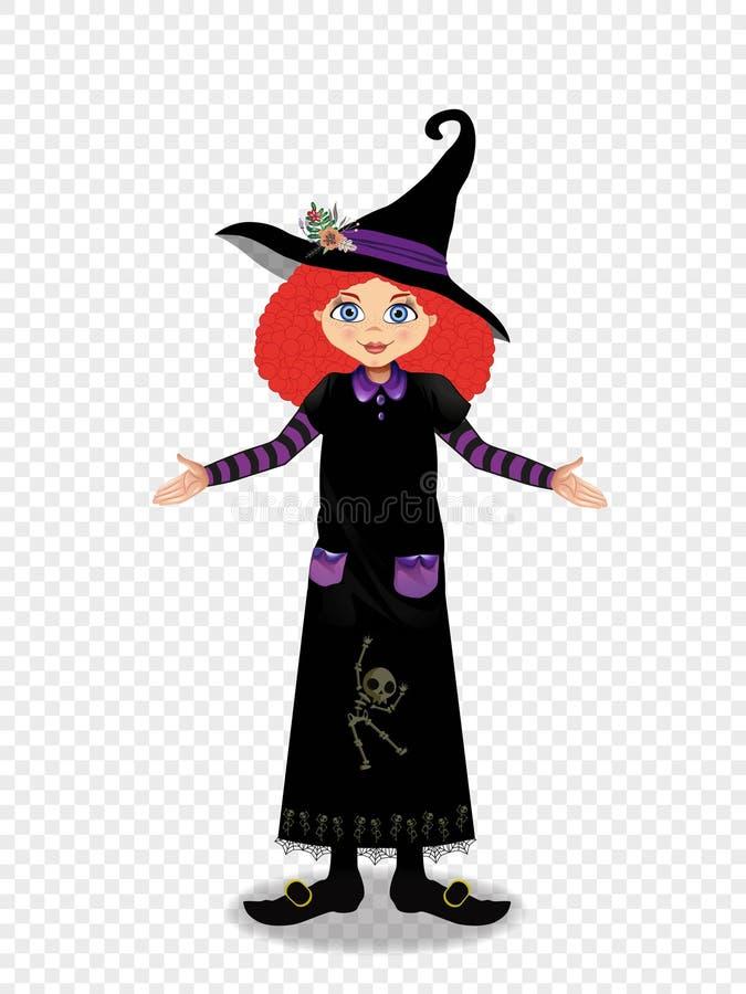 万圣夜年轻巫婆女孩的传染媒介例证有姜头发的在透明背景 向量例证