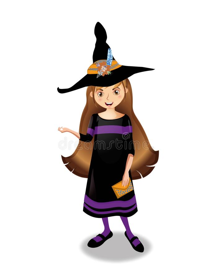 万圣夜年轻巫婆女孩的传染媒介例证有棕色头发的在白色背景 向量例证