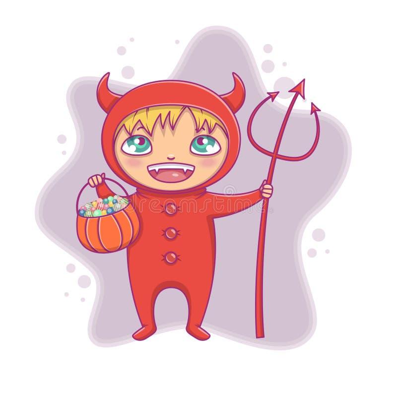 万圣夜恶魔服装笑的小男孩 动画片党的,邀请,网,吉祥人传染媒介字符 皇族释放例证
