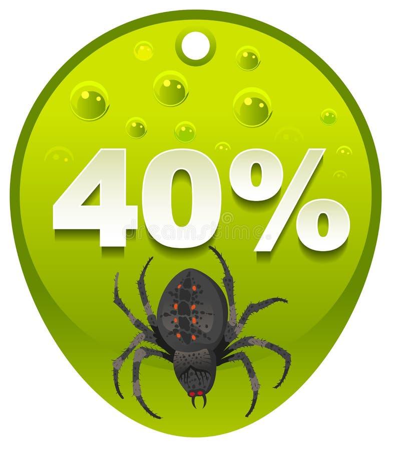 万圣夜折扣优惠券40% 万圣夜蜘蛛标签销售 库存例证