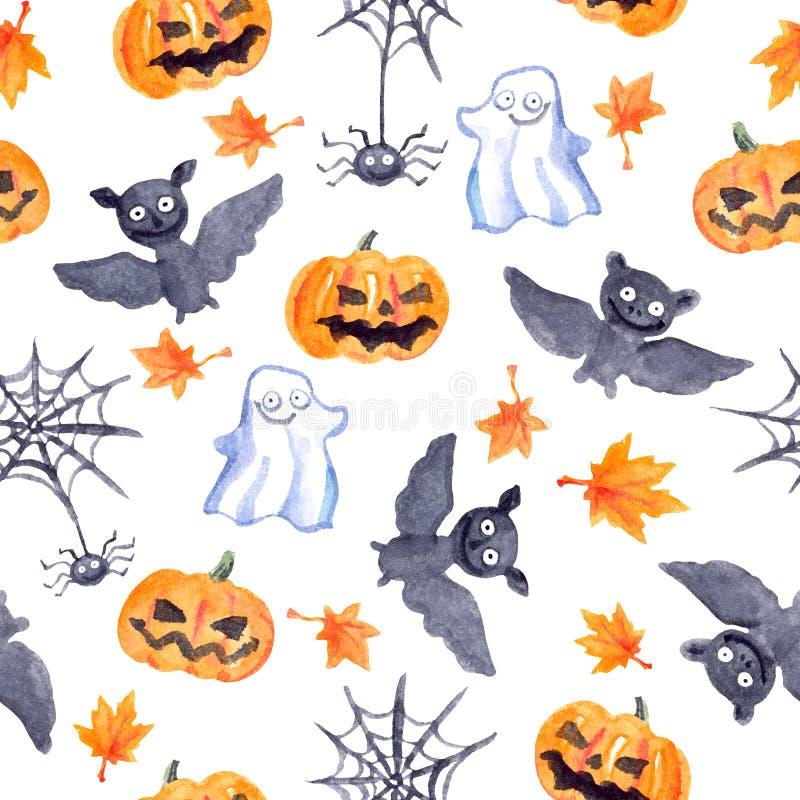 万圣夜无缝的样式-南瓜,棒,鬼魂,蜘蛛 逗人喜爱的水彩 向量例证