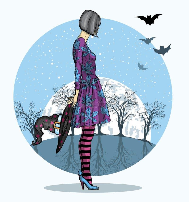 万圣夜服装和巫术师的女孩恭敬地反对大月亮,万圣夜夜 向量例证