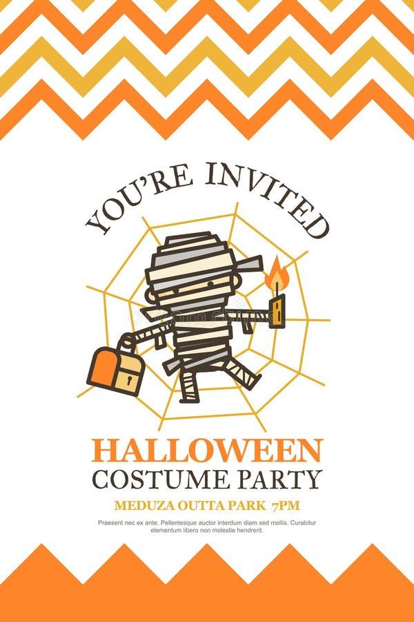 万圣夜服装夜党逗人喜爱的孩子的邀请卡片 库存例证
