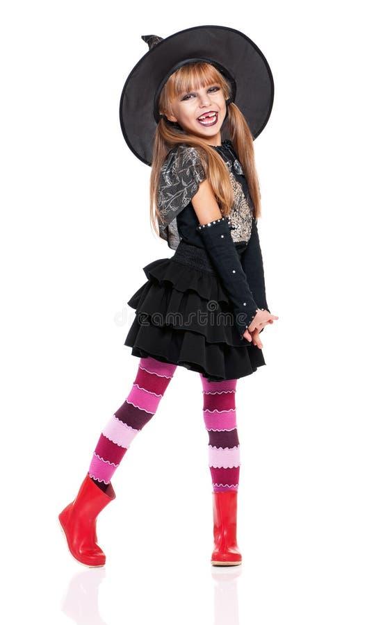 万圣夜服装的小女孩 库存照片
