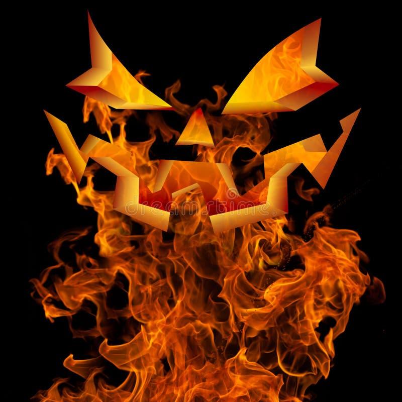 万圣夜杰克O灯笼面孔火背景问候设计 免版税图库摄影