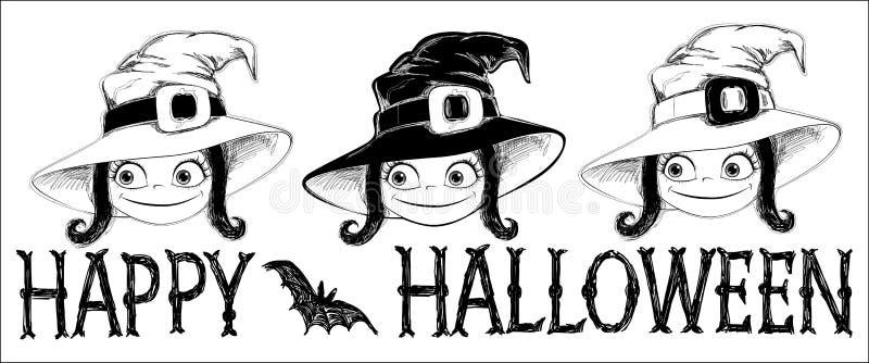 万圣夜横幅三逗人喜爱的矮小的巫婆 库存例证