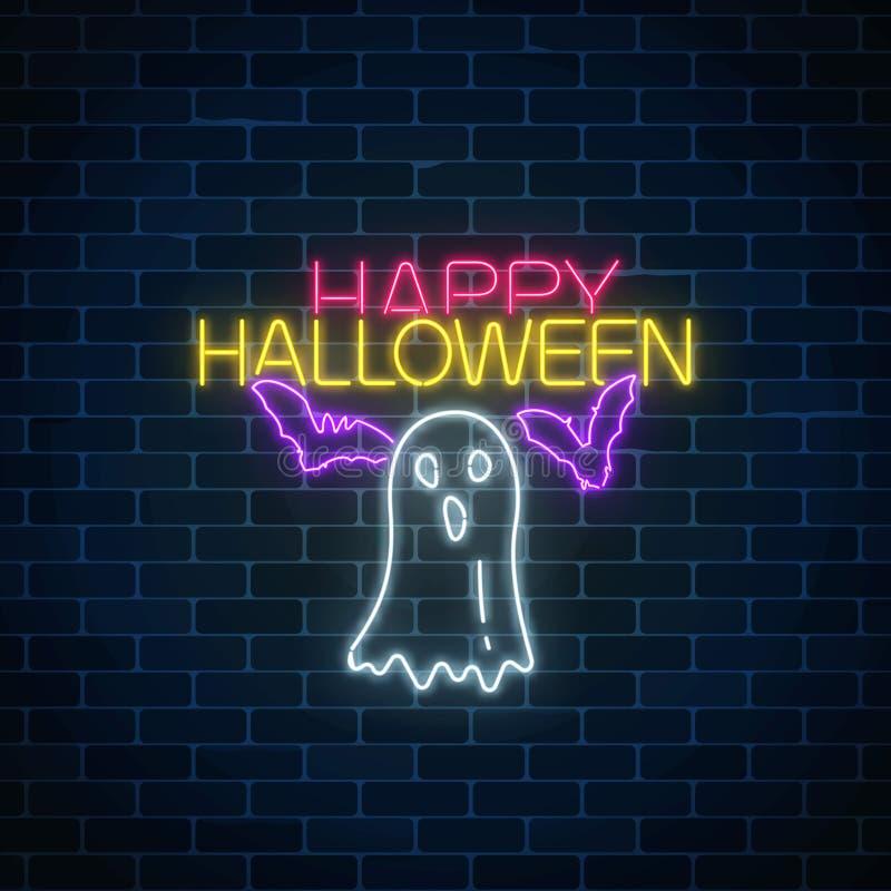 万圣夜横幅的发光的霓虹灯广告设计与鬼魂剪影和棒 明亮的万圣夜可怕标志氖样式 向量例证
