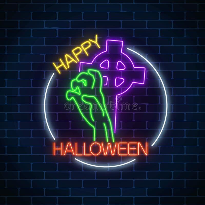 万圣夜横幅的发光的霓虹灯广告设计用从坟墓的骨多的手与墓碑十字架 明亮的万圣夜标志 向量例证