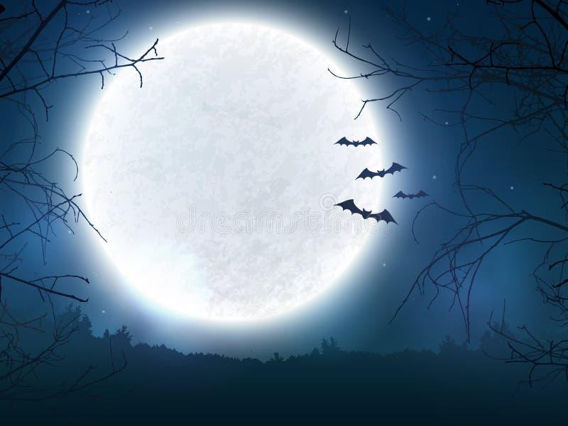 万圣夜横幅的鬼的夜背景 向量例证