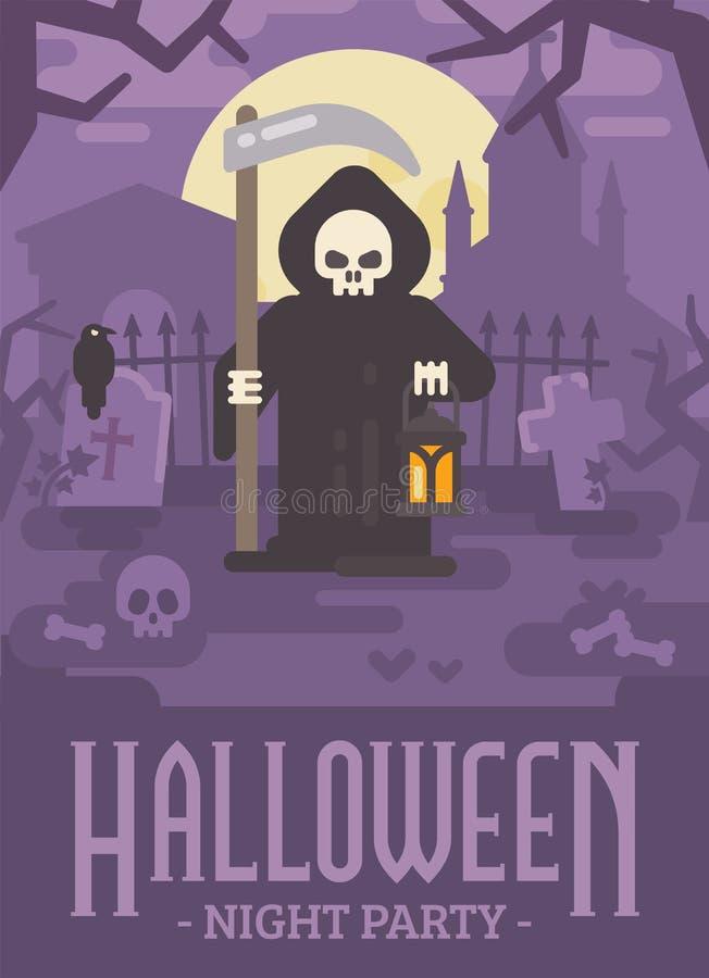 万圣夜死亡的海报例证有大镰刀的 库存例证