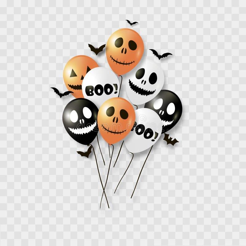 万圣夜气球和棒 黑橙色和白色颜色 向量 皇族释放例证