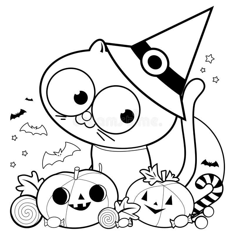 万圣夜猫、南瓜和款待 黑白彩图页 向量例证