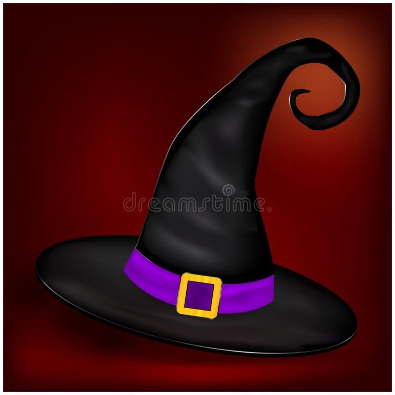 万圣夜现实巫婆帽子的传染媒介图片 在好的背景的例证 皇族释放例证