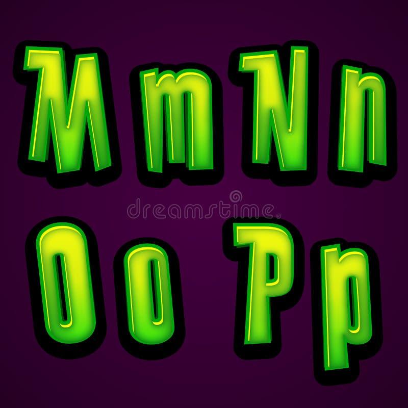万圣夜现代字体MNOP 向量例证