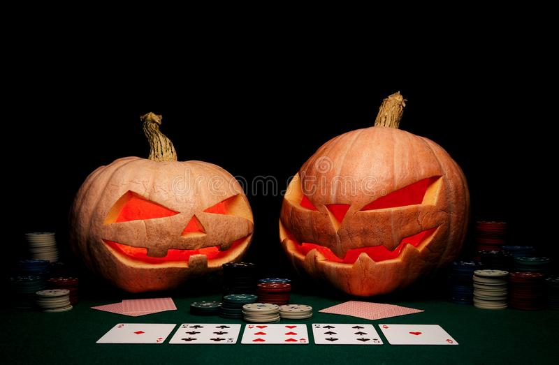 万圣夜的概念 邪恶的可怕南瓜打扑克 杰克L 库存图片