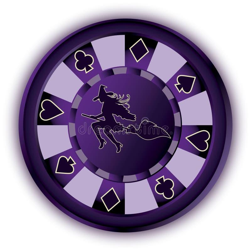 万圣夜纸牌筹码和巫婆 皇族释放例证