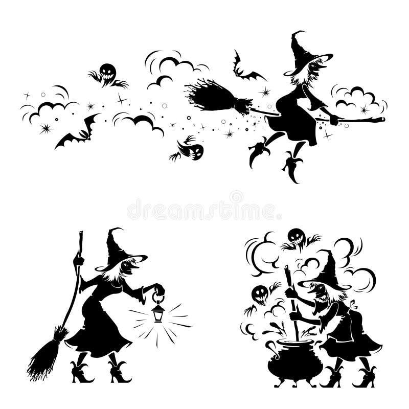 万圣夜细节 做魔术的巫婆和蠕动的鬼魂 向量例证