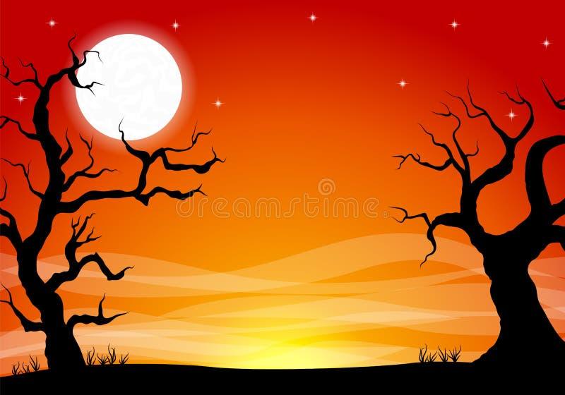 万圣夜背景与满月夜 向量例证