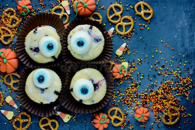 万圣夜背景健康甜点和款待孩子的,滑稽的o 免版税库存照片
